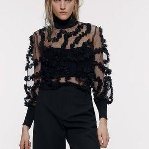 Zara contrasting semi sheer top blouse bloggers